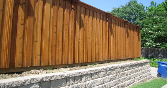 Cedar Wood Fence and Retaining Wall